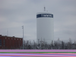 The newly painted and squeaky clean Timmins Water Tower