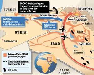 Courtesy of www.dailymail.co.uk map of Iraqi-Syria battleground