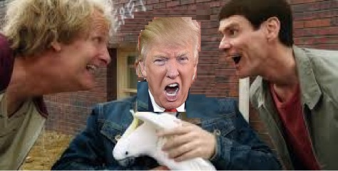 Donald Trump, centre, petting Dickie, his pet goat. Left, Jeff Daniels, Dumb; on the Right Jim Carey, Dumber. Trump of course will play Dumbest as soon as the election is over.
